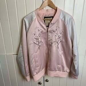 Embroidered Satin Bomber Jacket w/ Cherry Blossoms